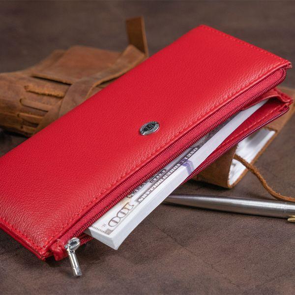 Горизонтальний тонкий гаманець зі шкіри жіночий ST Leather 19330 червоний