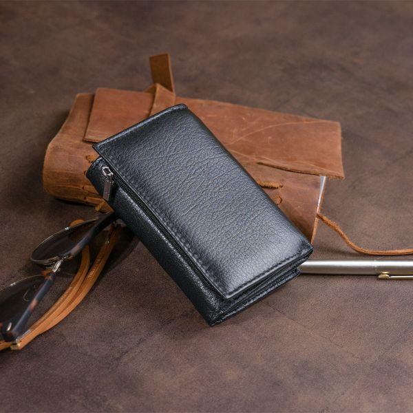 Горизонтальне портмоне зі шкіри унісекс на магніті ST Leather 19331 чорне