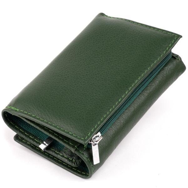 Горизонтальное портмоне из кожи унисекс на магните ST Leather 19332 Зеленое