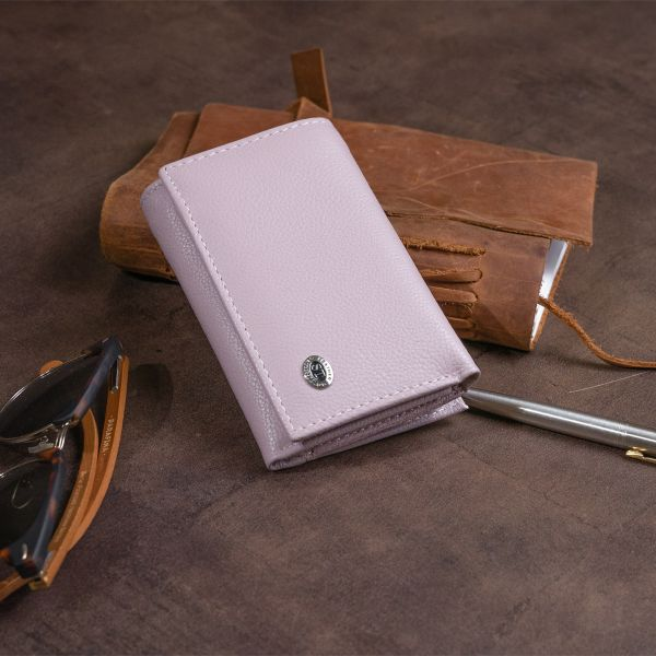 Горизонтальне портмоне зі шкіри жіноче на магніті ST Leather 19337 лілове