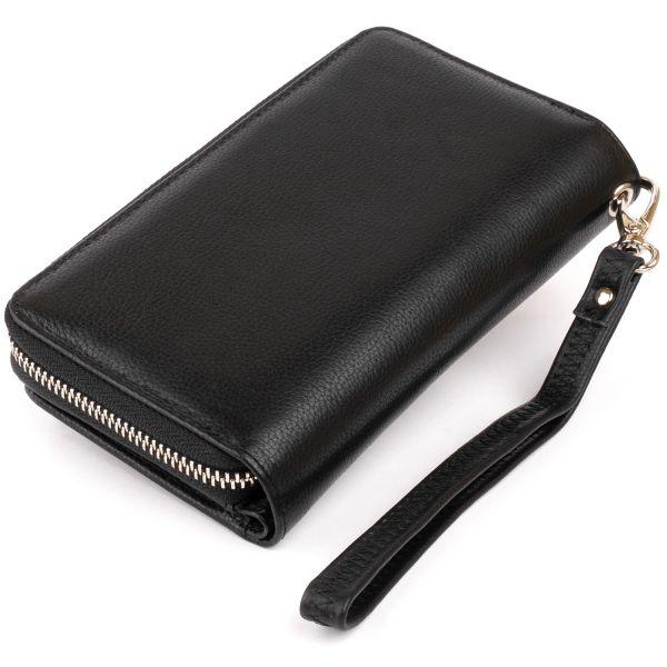 Гаманець зі шкіри на клямці ST Leather 19339 чорний