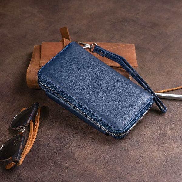 Гаманець зі шкіри на клямці ST Leather 19340 темно-синій