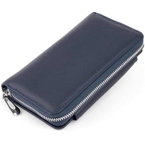 Кошелек из кожи на щеколде ST Leather 19340 темно-синий