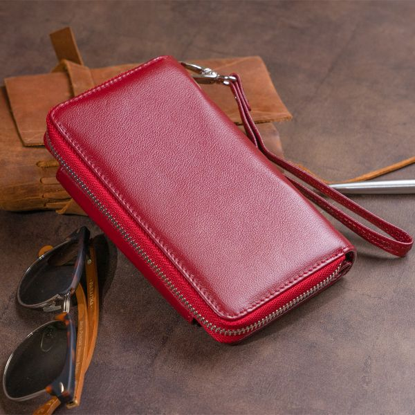 Кошелек из кожи на защелке ST Leather 19341 Бордовый