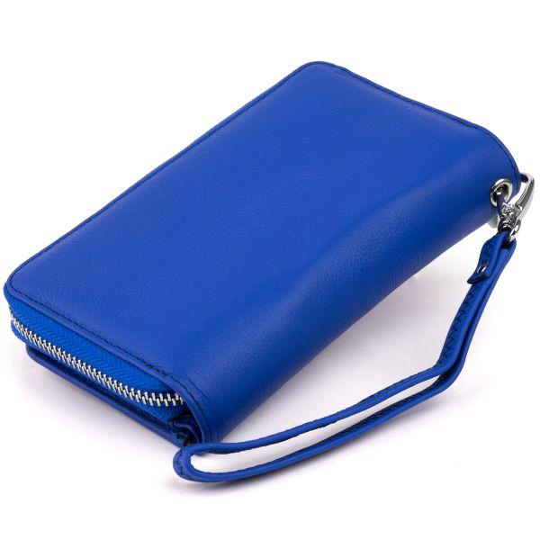 Гаманець зі шкіри на клямці ST Leather 19346 синій