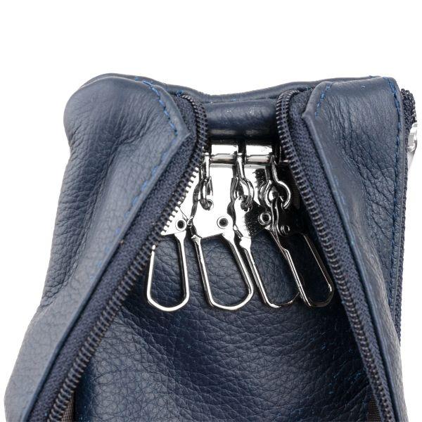 Ключниця-гаманець з кишенею унісекс ST Leather 19349 темно-синій