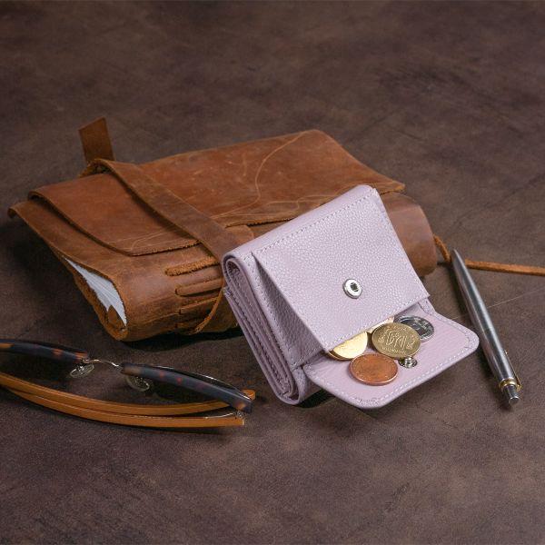 Маленькое портмоне из кожи женское ST Leather 19355 Лиловое