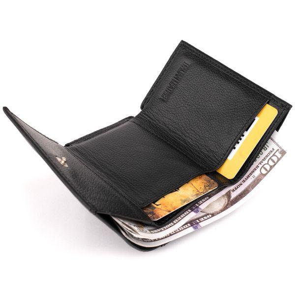 Маленькое портмоне из кожи унисекс ST Leather 19356 черное
