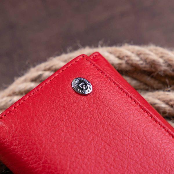 Кошелек горизонтальный с монетником на молнии женский ST Leather 19358 Красный