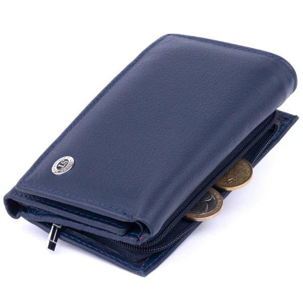 Кошелек горизонтален с монетчиком на молнии унисекс ST Leather 19360 синий