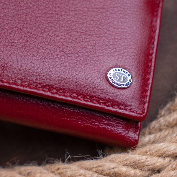 Кошелек горизонтальный с монетником на молнии женский ST Leather 19363 бордовый