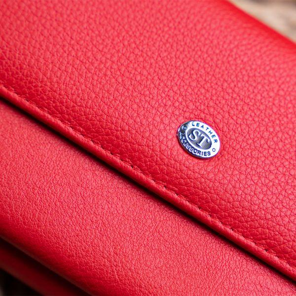 Кошелек с кармашком на лицевой стороне женский ST Leather 19366 Красный