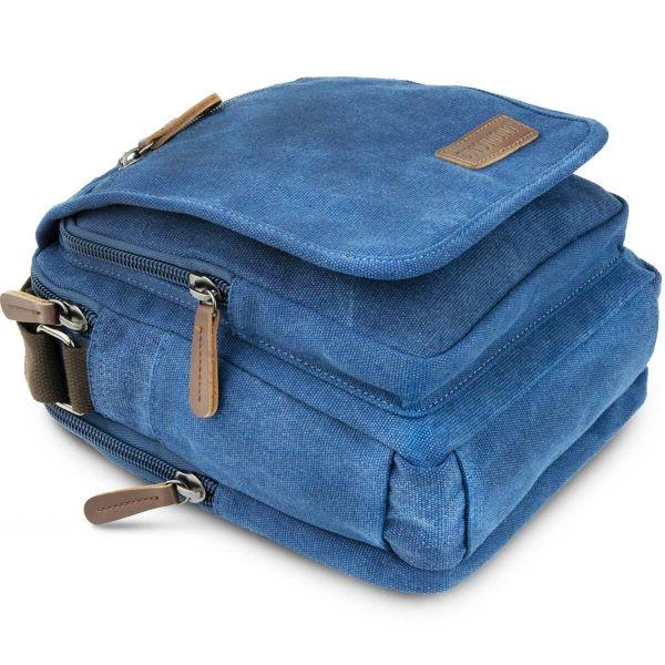 Универсальная текстильная мужская сумка на два отделения Vintage 20201 Синяя