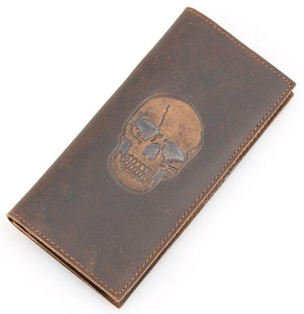 Вертикальный мужской кошелек из натуральной кожи Vintage 14386 коричневый