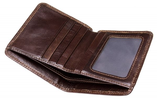 Мужское портмоне mini глянцевое 20245 Vintage Коричневое