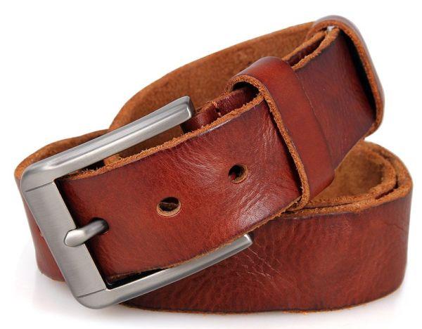 Ремень мужской Vintage 14400 под джинсы коричневый