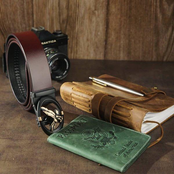 Ремень мужской с пряжкой автомат с силуэтом орла Vintage 20298 Коричневый