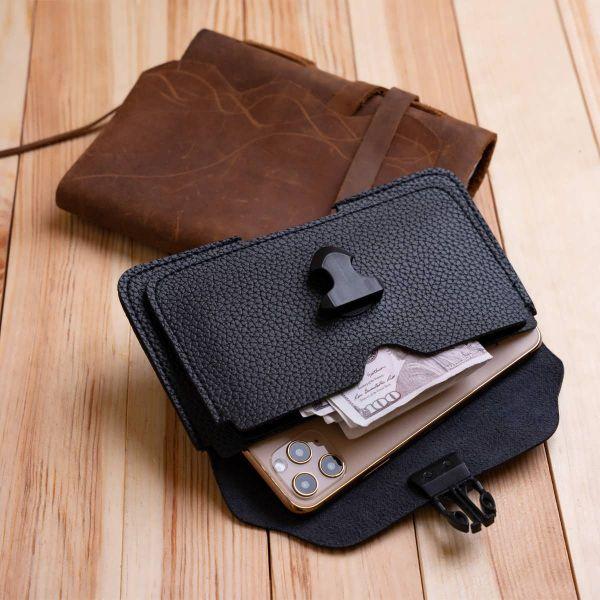 Горизонтальная барсетка на ремень брюк Vintage 20349 Черная