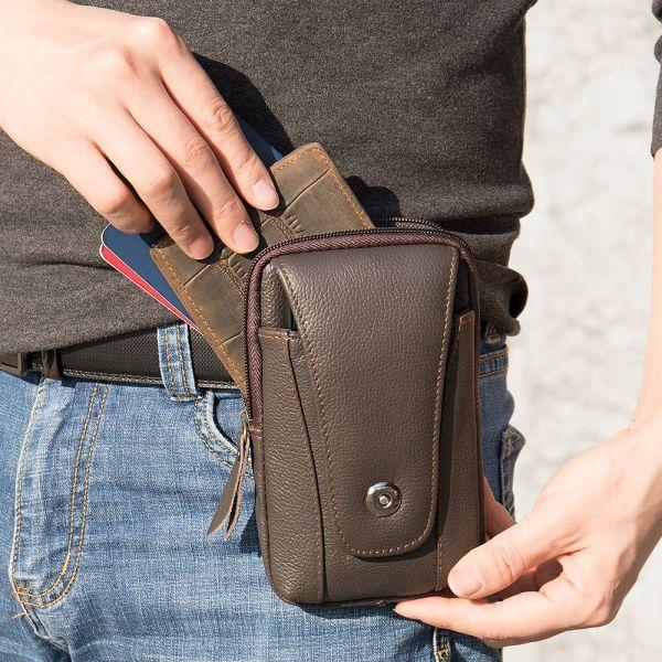 Барсетка на ремень брюк кожаная Vintage 20351 Коричневая