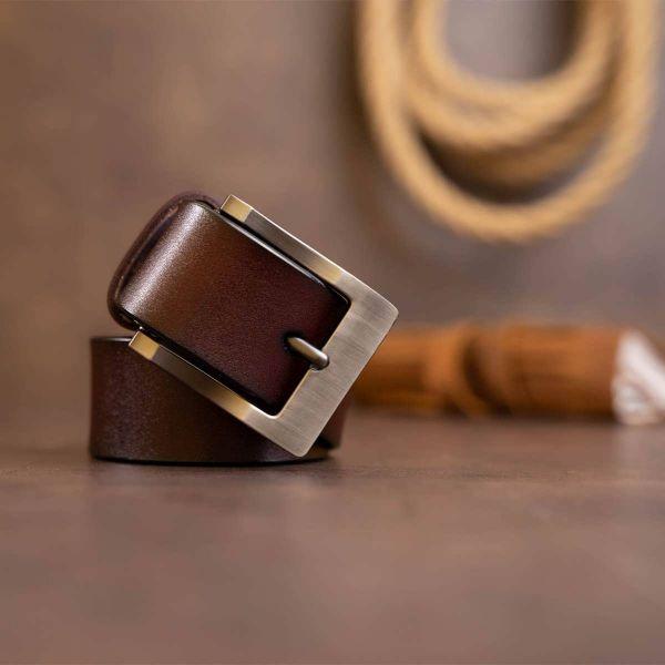 Ремень мужской с классической пряжкой Vintage 20357 Коричневый
