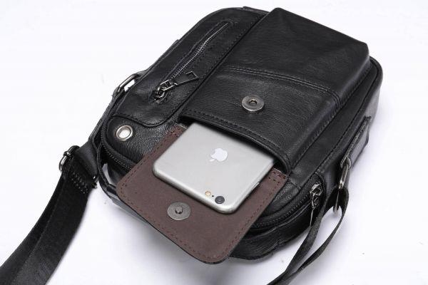 Вертикальная мужская сумка в плотной коже Vintage 20366 Черная