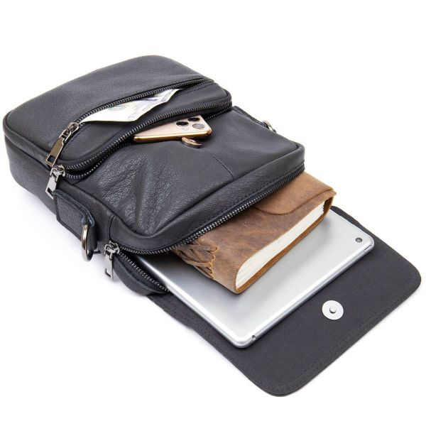 Вертикальная мужская сумка в мягкой коже Vintage 20367 Черная