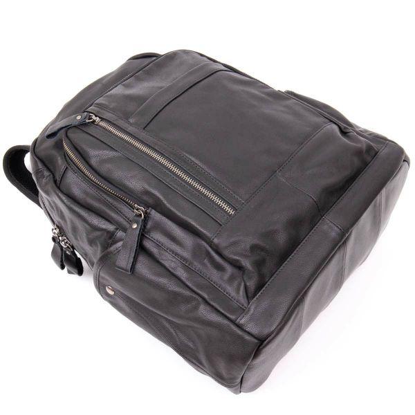 Рюкзак унисекс городской в гладкой коже Vintage 20397 Черный