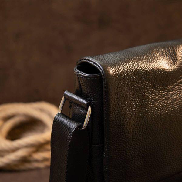 Сумка мужская классическая с клапаном флотар Vintage 20410 Черная