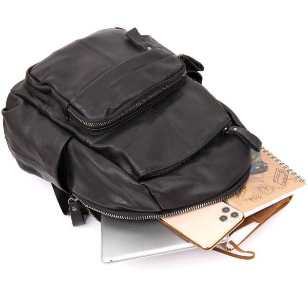 Рюкзак городской в гладкой коже Vintage 20411 Черный