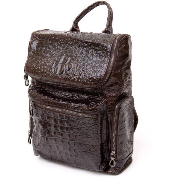Рюкзак под рептилию кожаный Vintage 20430 Коричневый