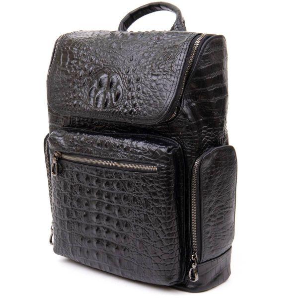 Рюкзак под рептилию кожаный Vintage 20431 Черный