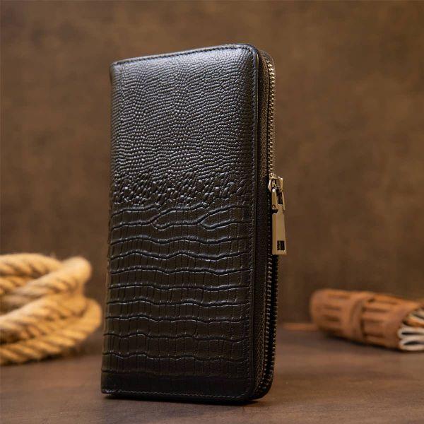 Клатч мужской под рептилию Vintage 20438 Черное