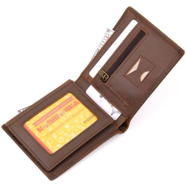 Портмоне унисекс матовое Vintage 20445 Темно-коричневое