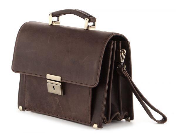 Барсетка SHVIGEL 00760 из винтажной кожи коричневая