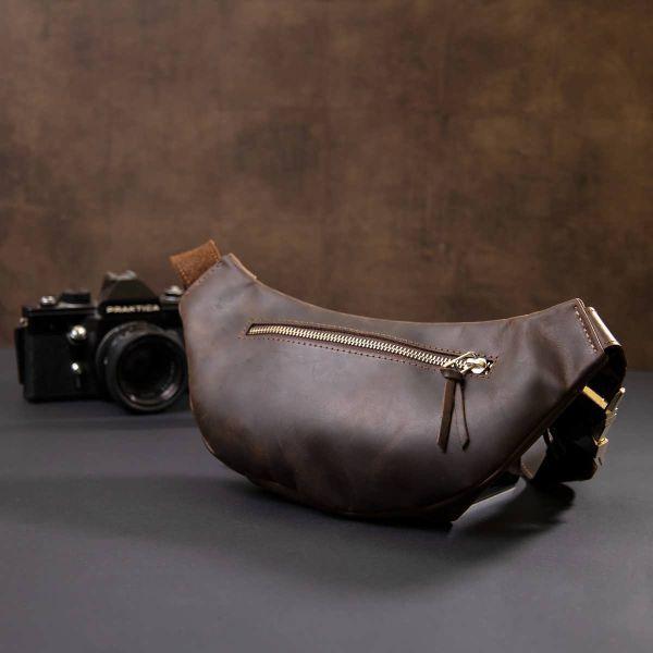 Бананка в винтажной коже GRANDE PELLE 11154 коричневая