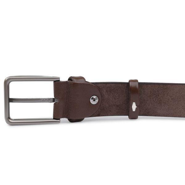 Батальный мужской ремень из натуральной кожи Vintage 20701 коричневый