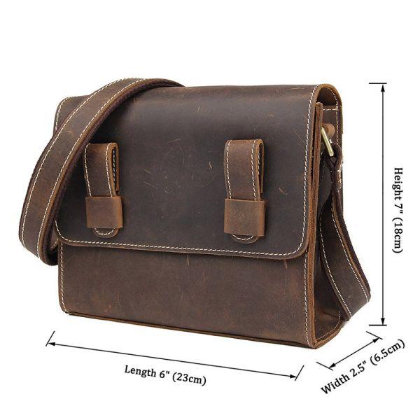Cумка мужская-почтальонка в винтажной коже Vintage 14980 коричневая