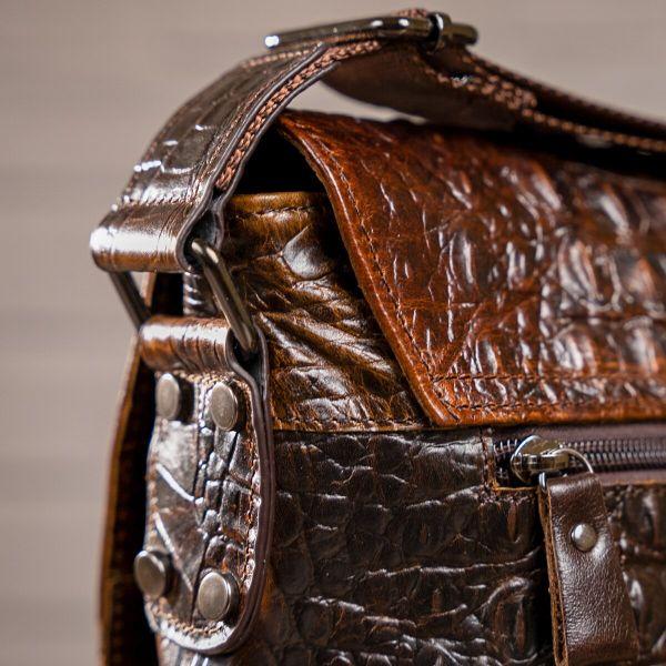 Cумка мужская с тиснением под крокодила Vintage 14698 коричневая