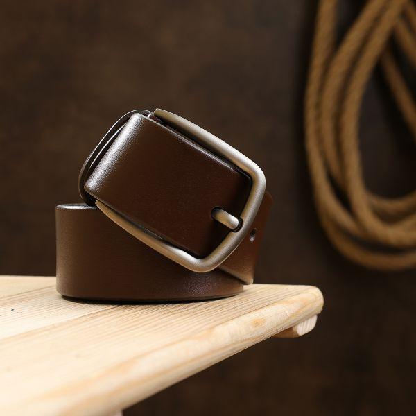 Добротный кожаный мужской ремень Vintage 20742 коричневый