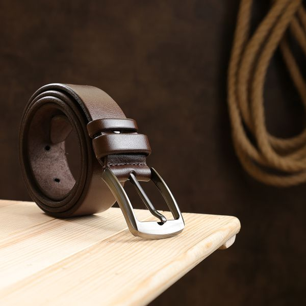 Добротный кожаный ремень для мужчин Vintage 20707 коричневый