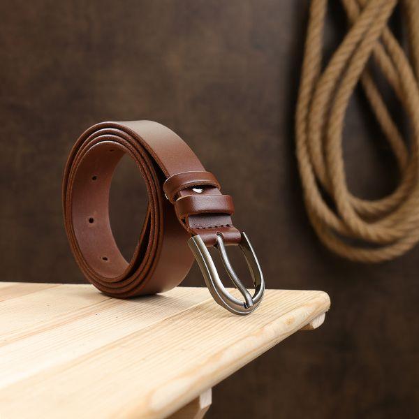 Добротный кожаный ремень Vintage 20793 коричневый