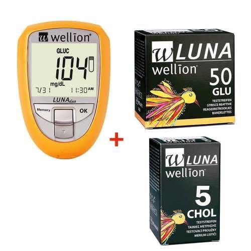 Набір глюкометр Wellion Luna Duo + тест-смужка глюкоза 50шт + тест-смужка холестерин 5шт