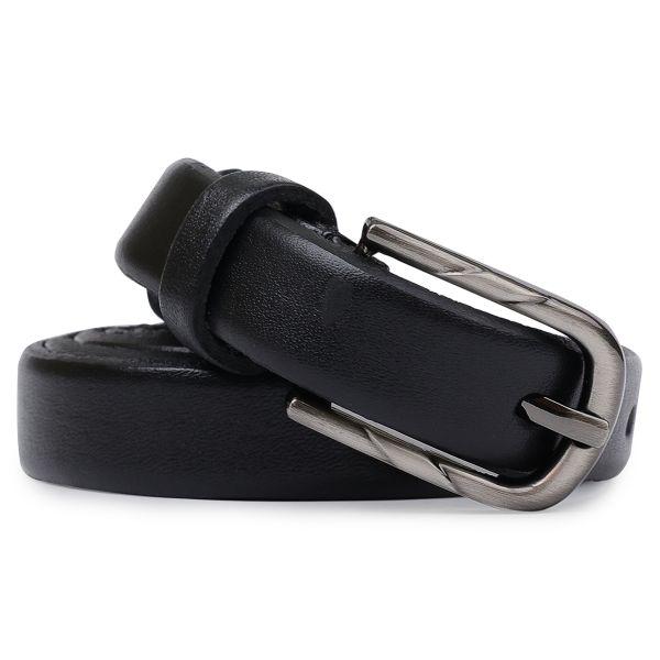 Элегантный тонкий женский ремень Vintage 20751 черный
