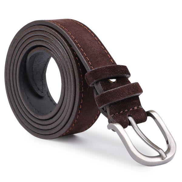 Элегантный замшевый ремень Vintage 20791 темно-коричневый
