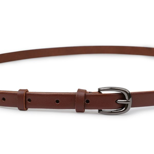 Гладкий кожаный женский ремень Vintage 20758 коричневый