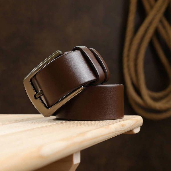Гладкий мужской ремень Vintage 20748 коричневый