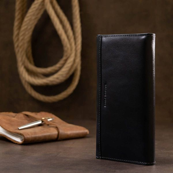 Горизонтальное стильное портмоне унисекс GRANDE PELLE 11557 синий