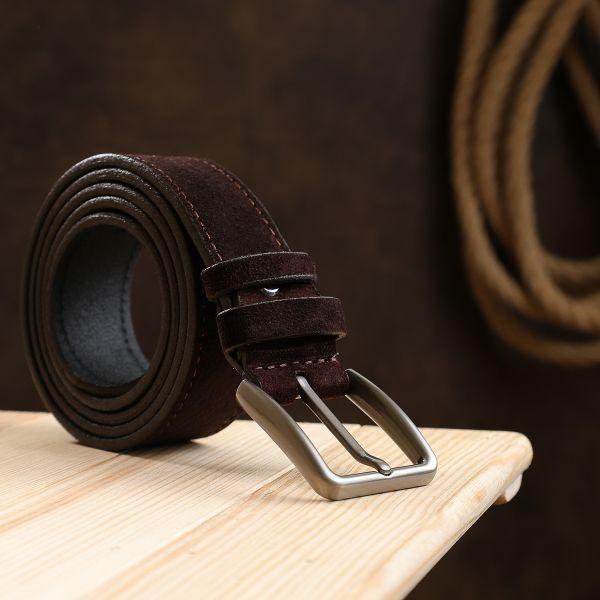 Классический замшевый ремень для мужчин Vintage 20705 коричневый
