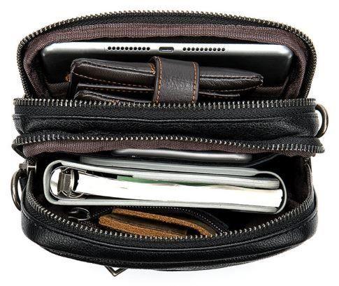 Компактная мужская сумка кожаная Vintage 14885 черная