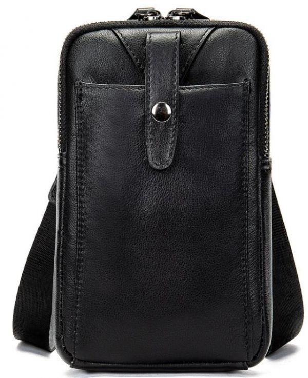 Компактная сумки из натуральной кожи Vintage 14811 черная